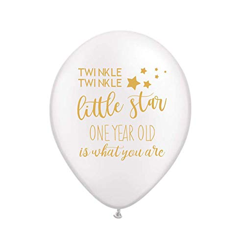 Twinkle Twinkle Little Star, One Year Old is What You Are, Nursery Rhyme, White and Gold Balloons, 1st Birthday Party Decorations, Twinkle Twinkle, First Birthday Balloons Party Decorations, Set of 3 (Nursery Rhyme Decorations)