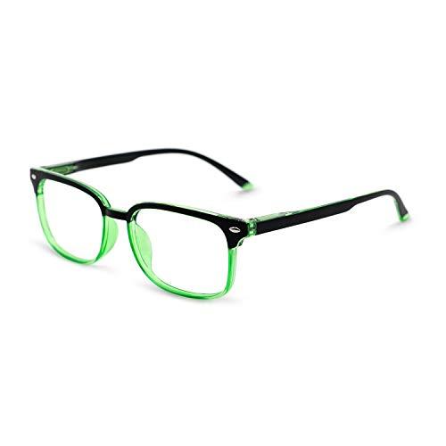 OCCI CHIARI Reading Glasses Readers Women Men Prescription Eyeglasses Computer Eyewear Rectangular(100 125 150 175 200 225 250 275 300 350) Black+Green, ()