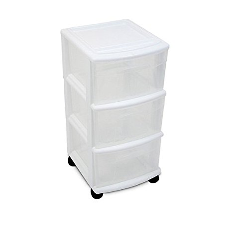 Review See Through 3 Drawer Cart with Ergonomic Handles, White (Set By STÉRILITE by .STÉRILITE .