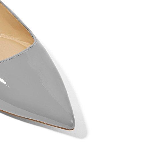 Xyd Femmes Occasionnels Bout Pointu Appartements Glisser Sur Le Ballet En Cuir Verni Conduite Loafer Robe Chaussures Gris