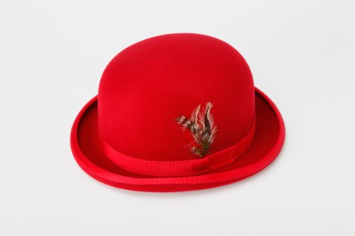 [New Mens Red Derby Bowler Hat - 100% Wool, Extremely Stylish, Very High Quality!] (40s Mobster Costumes)