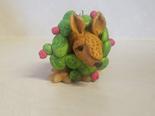ARMADILLO CHRISTMAS ORNAMENT Prickly Pear Cactus Wreath HANDMADE Whimsical