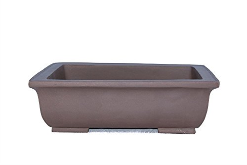 Unglazed Medium 9 Yixing Purple Clay Zisha Rectangular Flat and Shallow Ceramic Porous Bonsai Pot PA1-1