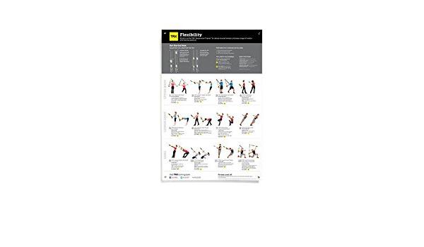 TRX Entrenamiento Póster de flexibilidad Total, 12 Sencillos estiramientos de Todo el Cuerpo ilustrados claramente en un póster Que no se rasga