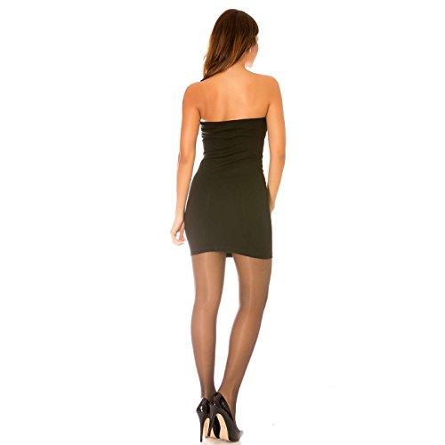 Miss Wear Line - Robe bustier noire bi-matière avec zip sur le devant à poches