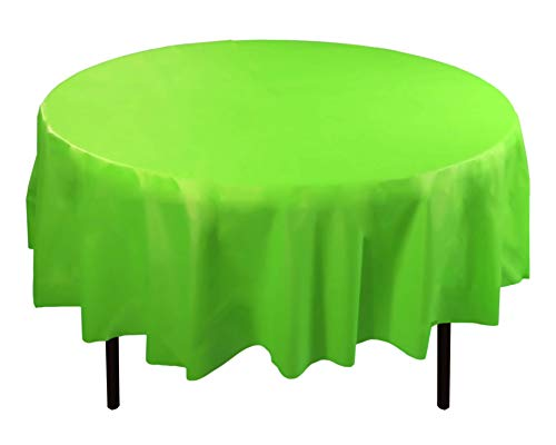 Tablecloths Lime - Exquisite 12-Pack Premium Plastic 84-Inch Round Tablecloth, Lime Green