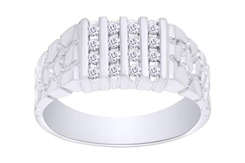 - Christmas Sale 1/4 Carat Round Cut White Natural Diamond Four Row Nugget Men's Band Ring In 10k White Gold (0.25 Ct) Ring Size-8