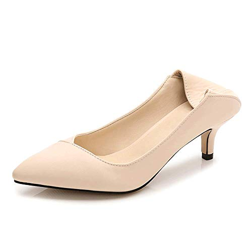 LIURUIJIA Womens Comfort Slip On Pointed Toe Dress Low Kitten Heel Pump Wedding Shoes MENS-GG-5106-1-05-apricot-37 by LIURUIJIA (Image #2)