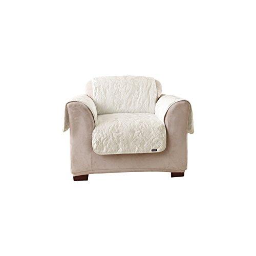 Sure Fit Matelasse Damask  - Chair Slipcover  - White (Damask Polyester Slipcover)