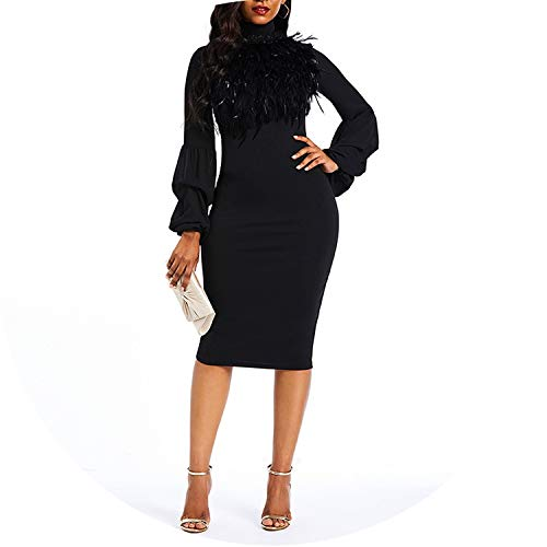 Winter Dress Women Turtleneck Warm Stretch Black Elegant Lady Bodycon Party Dresses,Black,M