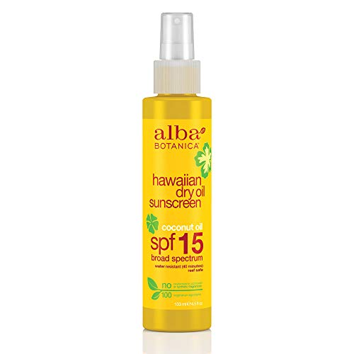 Alba Botanica Coconut Oil Hawaiian Dry Oil SPF 15 Sunscreen, 4.5 oz.