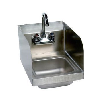 Stainless Steel Hand Sink with Side Splash - NSF - Commercial Equipment 10'' X 14'' by L&J Import