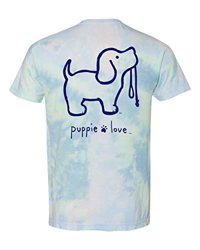 Puppie Love Tie Dye 3 Pup Adult Short Sleeve T-Shirt-Large
