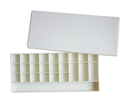 (25-well Rectangular Plastic Watercolor Palette Box, Paint Tray Palette)