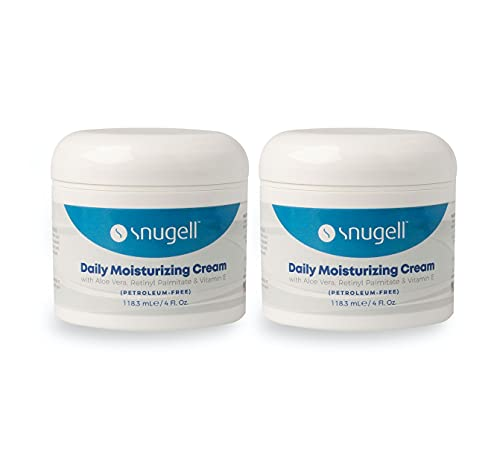 Daily Moisturizing Cream by Snugell   Face, Hands and Body Skin Moisturizer   with Aloe Vera, Retinyl Palmitate   Vitamin A & Vitamin E   Non-greasy   Petroleum-free   Fragrance-free   4 Fl. Oz.   For Continuous Hydration (2)