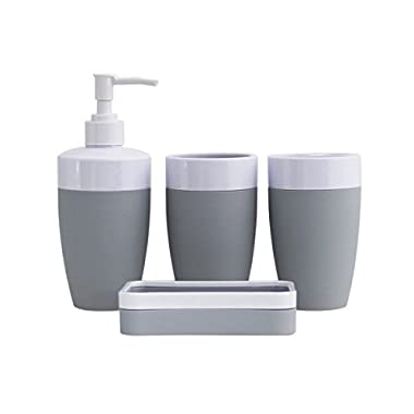 JustNile Plastic Rubber 4-Piece Bathroom Accessory Set - Modern Grey