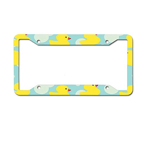 MichelleSmithred Rubber Ducky License Plate Frame Aluminum Metal Tag for US Canada Standard 4 Holes Screws -