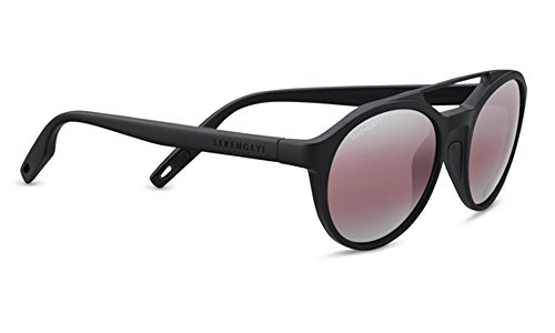 Serengeti Leandro Sunglasses Satin Black, Lens by Serengeti