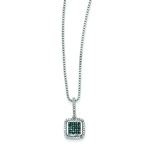 Argent 925/1000-Bleu et blanc avec diamants bruts Pendentif Femme-Carré-JewelryWeb