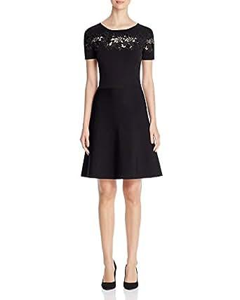 Elie Tahari Women's Arley Lace Inset Dress Black Size X-Small