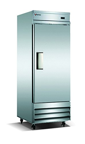 Commercial Grade Reach-in Refrigerator by Vortex Refrigeration | 1 Self-Closing Door | 23 Cu. Ft. | 3 Adjustable Shelves | for Restaurant Kitchens | 29