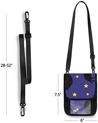 トラベルウォレット ミニ ネックポーチトラベルポーチ ポータブル 黒猫 ネコ ペンタグラム 小さな財布 斜めのパッケージ 首ひも調節可能 ネックポーチ スキミング防止 男女兼用 トラベルポーチ カードケース