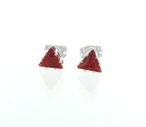 5MM Trilliant Shaped Simulated Ruby Red Stud Earrrings, Silver Tone