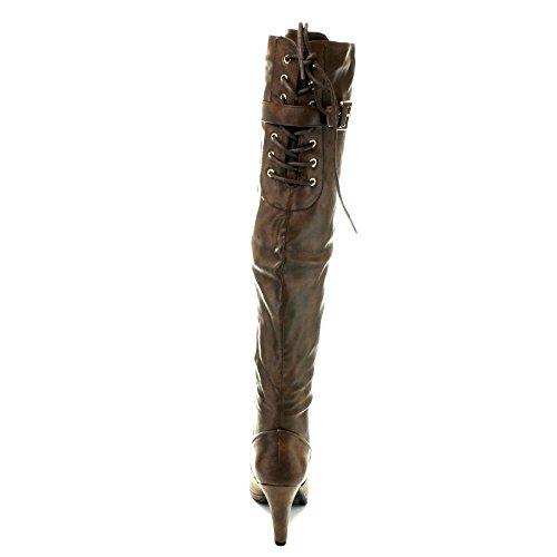 Toujours Ceci-11 Womens Kitty Talon Retour Lacet Sur Les Bottes Hautes, Couleur: Marron, Taille: 5.5