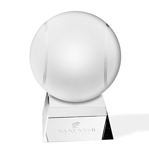 (Matashi Crystal Paperweight with Stand Decorative Ball Etched Tennis Ball Ornament Home Decor Gifts, Corporate Office Gift with Gift Box)