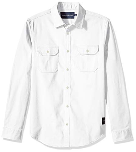 Calvin Klein Men's Long Sleeve Button Down Utility Shirt with Chest Pockets, Standard White, X-Large