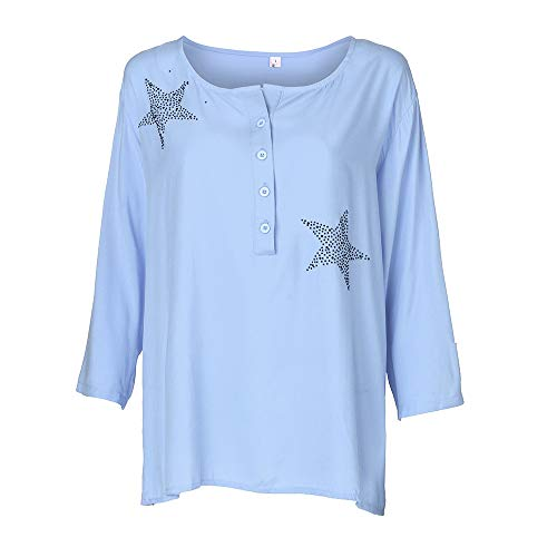 POQOQ Tops T Shirts Womens Blouses Casual Long Sleeve BUON Cowl Neck Tunic Sweat Casual Long Sleeve Solid unic Slim Fit XXL Blue -