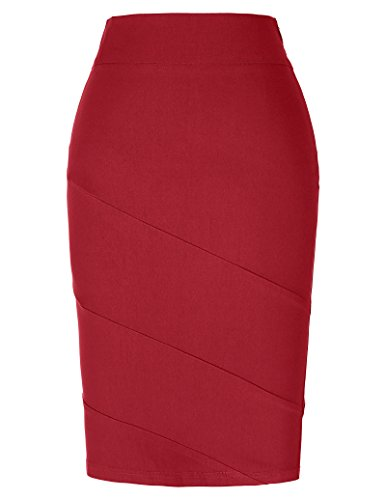 Women's High Strechy Bodycon Pencil Skirt Knee Length Red Size S KK269-3