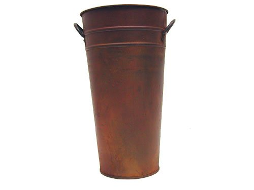 Craft Outlet Tin Flower Bucket, 13-Inch, Rust