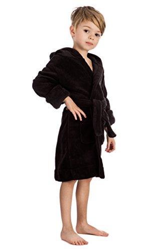 Elowel Boys Girls Hooded Black Childrens Toddler Fleece Sleep Robe Size 3Y ()