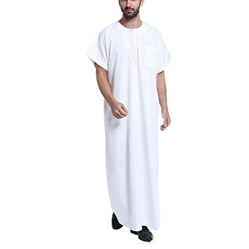 Per Abaya Kaftan Musulmano Corta Arabo Estate Medio Uomo Abbigliamento White Oriente Robes Islamico Manica Ricamato Thawb Zhhlaixing 80XPwOkn