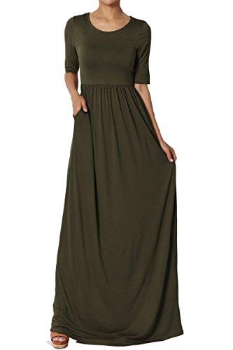 Dress Knit Shirred (TheMogan Women's Half Sleeve Shirred Viscose Jersey Long Maxi Dress Olive XL)