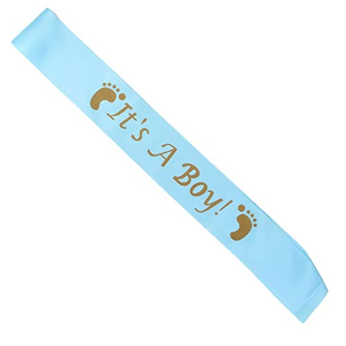 Taiguang It's A Boy Sash It's a Girl Satin Sash for Baby Shower Party Decor Mum to Be Gift Blue ()