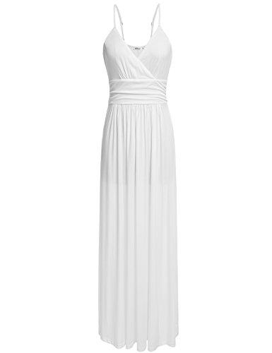 Meaneor Women's Strapless Maxi Dress Plus Size Tube Long Skirt Sundress Cover Up (White/XXL)