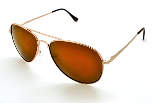 VOX Lightweight Classic Mens & Womens Trendy Aviator Sunglasses w/FREE Microfiber Pouch - Gold Frame - Light Brown - Avaiator Glasses