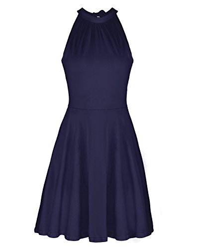 - OUGES Women's Stand Collar Off Shoulder Sleeveless Cotton Casual Dress(Navy,M)