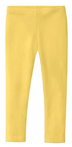 City Threads Girls' Leggings 100% Cotton for School Uniform Sports Coverage Play Perfect for Sensitive Skin SPD Sensory Friendly Clothing, Yellow, 4T by City Threads