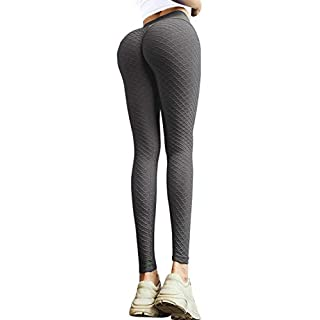 MOSHENGQI Women's Ruched Butt Lifting High Waist Yoga Pants Tummy Control Stretchy Workout Leggings Textured Booty Tights(Small,#3 Opal Gray)