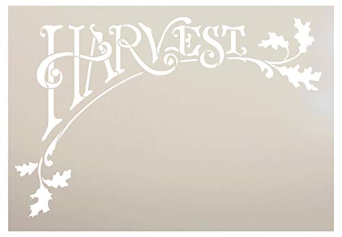 Autumn Leaves Templates - Harvest Stencil by StudioR12 | Arched Autumn Word Art and Leaves - X-Large 18 x 26 Reusable Mylar Template | Painting, Chalk, Mixed Media | Use for Wall Art, DIY Home Decor - STCL685 (9