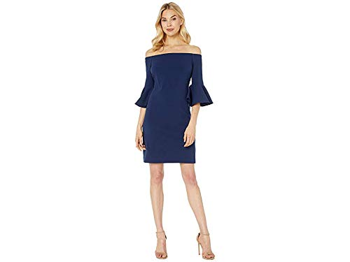 - Vince Camuto Womens Bell Sleeve Off The Shoulder Crepe Ponte Dress Ink Blue XL