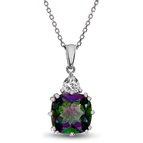 (Finejewelers 10 mm Cushion Mystic Topaz and Triangle White Topaz Pendant Necklace Sterling Silver)
