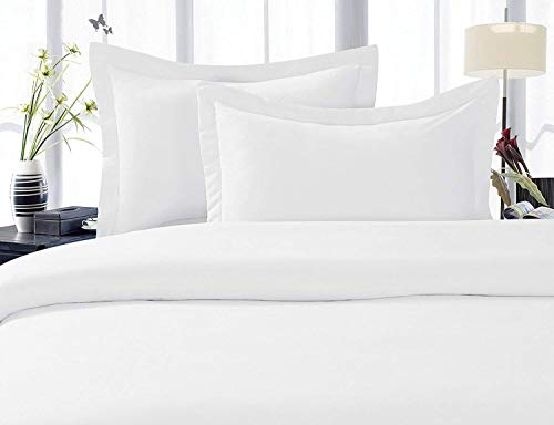 - 600 Thread Count Three (3) Piece Queen Size White Solid Duvet Cover Set, 100% Egyptian Cotton, Premium Hotel Quality