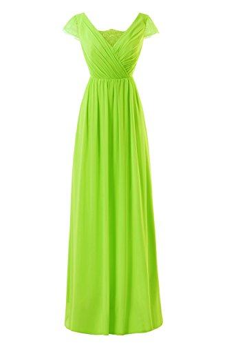 Donne Lunghi Pizzo Nuziali Prom Maniche A Lime Abiti Chiffon Green Formali Bess Tappo nHZAxwq1