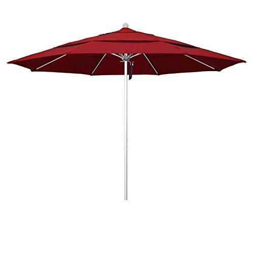 California Umbrella Aluminum/Fiberglass, Push Open, Silver Pole, Pacifica Red Umbrella, 11′ Round Review