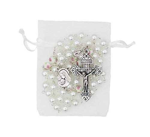 Christian Living 8mm Glass Bead Imitation Pearl Rosary with Pardon Crucifix and Miraculous Medal