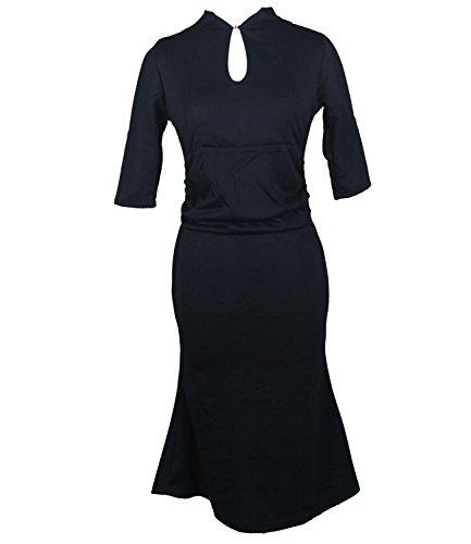 Vídeo de las mujeres tripulación cuello sólido animada lápiz cóctel vestido de fiesta negro